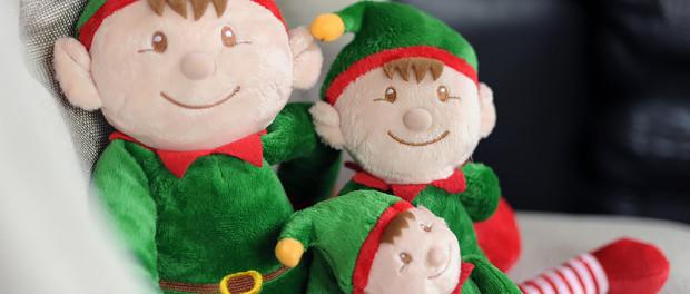 Keel Toys Christmas Elves sat on chair